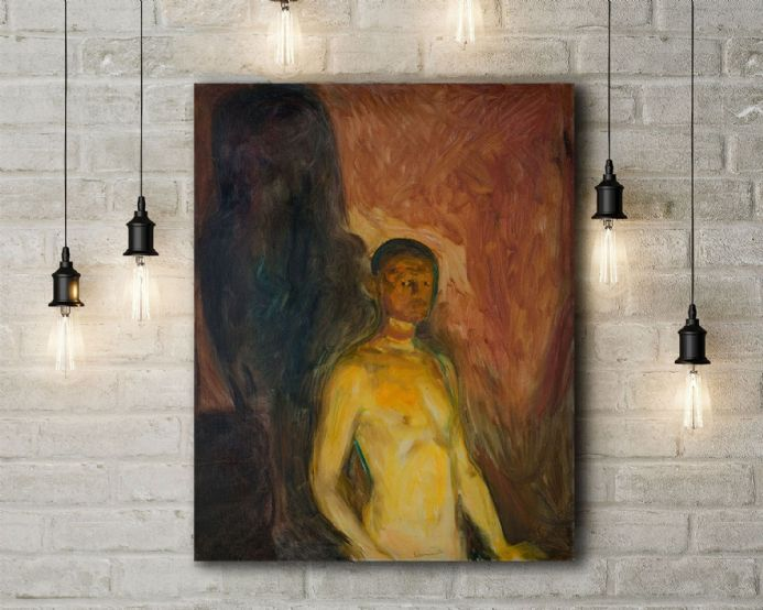 Edvard Munch: Self Portrait in Hell. Fine Art Canvas.